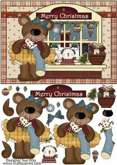 Bears Christmas Window Card Front and Decoupage