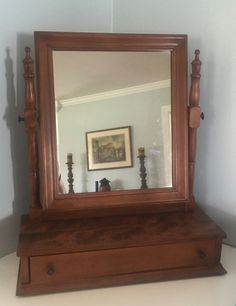 Gentleman's shaving mirror, vintage mirror, shaving mirror with drawer, wood frame mirror by VintageSowles on Etsy