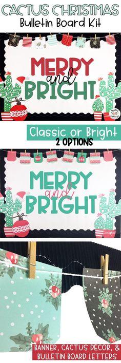 Bright and fun Christmas Cactus Bulletin Board Kit!