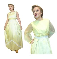 LEMON YELLOW TWINSET Prom Dress Maxi skirt White Lace Trim Jacket Bolero YD10 50s Prom Dresses, Bridesmaid Dresses, Formal Dresses, Wedding Dresses, Bolero Top, Lemon Yellow, White Skirts, Vintage Outfits, Vintage Clothing
