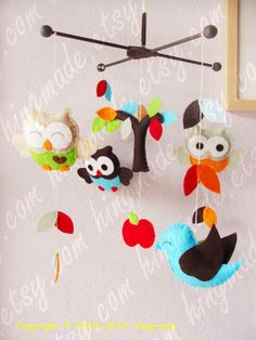 Baby Mobile - Felt Mobile - Decorative Nursery Mobile - Bright Owls and Bird in the tree top