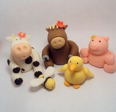 Farm Animals Set of 6 Cupcake or Cake Toppers for Birthdays, Farm Theme and other Events. $20.00, via Etsy.