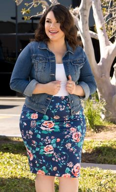 Floral Cassie paired with denim jacket! Love:) #LuLaRoe https://www.facebook.com/groups/252475675122918/