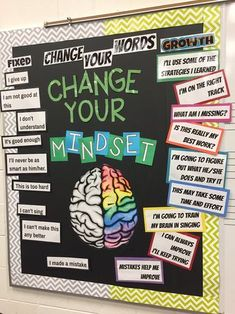 Teacher Bulletin Board Kit Growth Mindset Classroom Decorations Elementary Middle and High School All Year Display Health Bulletin Boards, Counseling Bulletin Boards, College Bulletin Boards, Bulletin Board Display, Nurse Bulletin Board, School Display Boards, Diversity Bulletin Board, Counseling Activities, Bulletin Board Ideas Middle School