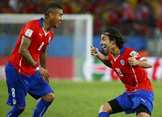 Chile's Jorge Valdivia celebrates their second goal during their match against Australia Brazil World Cup, World Cup 2014, Fifa World Cup, Soccer Fifa, Australia, Have Fun, Football, Goals, Baseball Cards