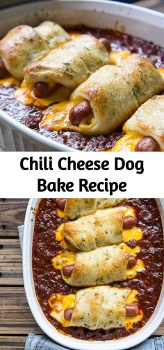 Your family's favorite food and drink ! CHILI CHEESE DOG BAKE Chili Cheese Dog Bake is a fun twist to the classic hot dog, but in casserole form! Hot Dog Recipes, Cheesy Recipes, Pork Recipes, Baking Recipes, Chili Cheese Dog Bake Recipe, Chilli Cheese Dogs, Hot Dog Casserole, Casserole Recipes, Cauliflower Soup Recipes