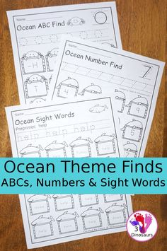 No-Prep Ocean Themed Finds: ABCs, Numbers & Sight Words - easy no-prep printables with a fun ocean theme for ABCs, Numbers, and Sight Words: Dolch Preprimer and Primer $ - 3Dinosaurs.co