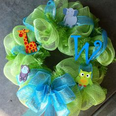 Baby boy wreath I made with deco mesh