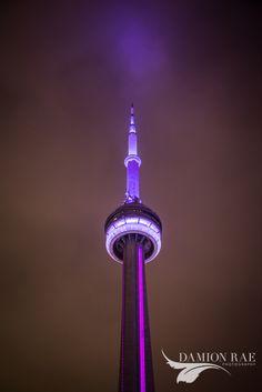Purple CN Tower Toronto Cn Tower, Toronto, Night, Purple, Art, Art Background, Kunst, Viola, Art Education
