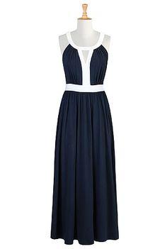 #Contrast trim knit maxi, #Maxi Dresses, #eShakti, $69.95