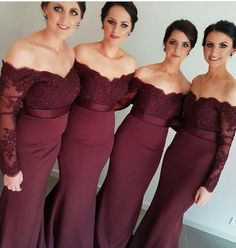 Gorgeous Off-the-shoulder Mermaid Long Burgundy Bridesmaid Dress,Long Sleeve Bridesmaid Dress,Mermaid Bridesmaid sold by Now and Forever. Shop more products from Now and Forever on Storenvy, the home of independent small businesses all over the world. Off Shoulder Bridesmaid Dress, Mermaid Bridesmaid Dresses, Wedding Bridesmaid Dresses, Mermaid Dresses, Wedding Party Dresses, Party Gowns, Lace Mermaid, Shoulder Dress, Mermaid Beach