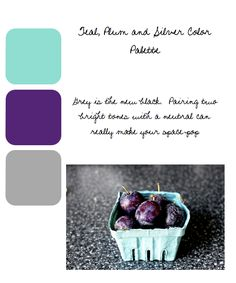 Teal, plum and silver color palette