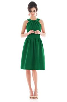 Alfred Sung Style D494 Retro Vintage Bridesmaid Dress In Pine Green from Weddington Way. Perfect for a Emerald Wedding $168
