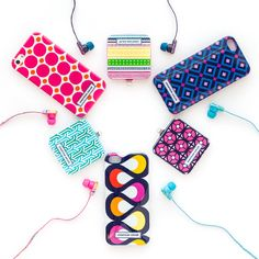 Mix and match your favorite Jonathan Adler prints with ear buds and mobile chargers! With all the options, you'll be sure to have your own unique style.