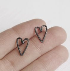 Mother's day heart silver Earrings Studs by AgJc on Etsy, €28.00