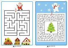 Лабиринты для детей новый год, новогодние задания для детей