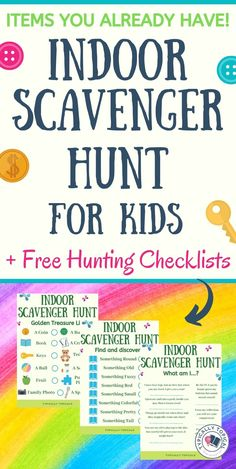 An Indoor Scavenger Hunt For Kids Using Items You Already Have [& Free Checklist Printables On the hunt for a super fun, but low prep indoor activity for your kids? This indoor scavenger hunt is perfect for high energy, hyper kids who love to play game Rainy Day Activities For Kids, Rainy Day Fun, Activities For Adults, Indoor Activities For Kids, Games For Toddlers, Toddler Activities, Fun Activities, Kindergarten Activities, Toddler Games