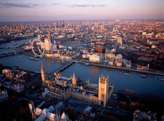 Aerial view of the Houses of Parliament, River Thames, london