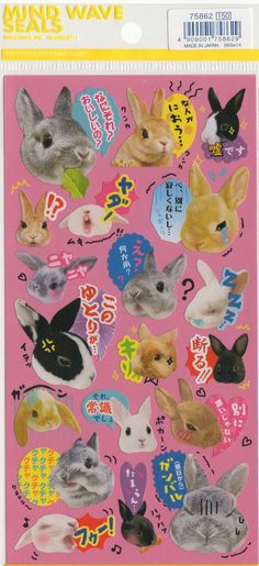 Kawaii Japan Sticker Sheet Assort: Kawaii Japan Novelty Bunnies with Japanese Phrases
