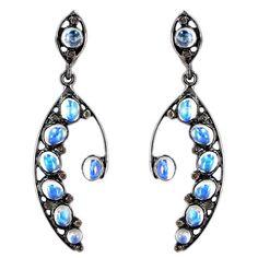 925 Sterling Silver Moonstone Dangle Earrings Diamond Pave Vintage Style Jewelry…