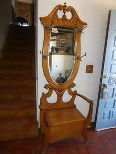 Lot #58 - Fabulous Antique Solid Oak Hall Tree - Great Condition