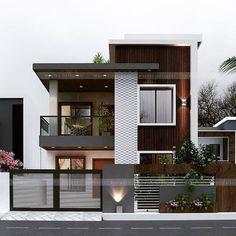 Modern Small House Design, Modern Exterior House Designs, Modern House Facades, Modern Architecture House, Modern House Plans, Exterior Design, Modern Villa Design, Facade Design, Modern Houses
