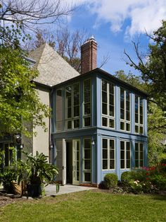 Sunroom Exterior - traditional - Landscape - Philadelphia - Krieger + Associates Architects Inc Second Story Addition, Sunroom Addition, Glass Extension, Room Additions, Villa, Traditional Landscape, Backyard, Patio, House Extensions