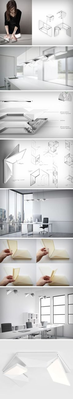 """""""ModuLight move system"""" is a project of modular luminaires implemented in collaboration with Aquaform Lighting Solutions. ModuLight Move System invites the possibility of controlling the light source and the option to freely adjust the luminous flux applied in the frame mechanism by tilting the tile outwards. The ModuLight changes the environment around it with a very simple bending of the light panel."""