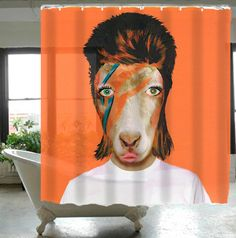 Shower Curtain Animal Portrait Bathroom Decor Funny Animal Painting Holiday Gift : David Bowie Goat