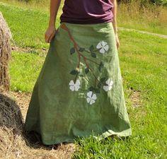 Custom Made Dogwood flowers hemp and organic cotton wrap skirt by RhythmThreads