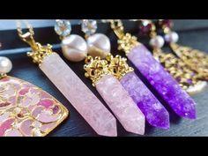 【レジン】100均の材料でアメジスト&ローズクウォーツ【天然石風】DIY Resin Amethyst/Rose Quartz Jewelry - YouTube