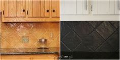 You can PAINT your tile backsplash!  Talk about a thrifty update.  Full tutorial by Designer Trapped in a Lawyer's Body.