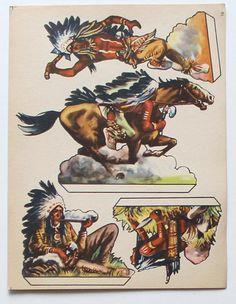 Картинки вырезать с подставками винтаж ковбои