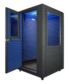 "Sound Isolation Enclosures on whisperroom.com (Dee Bradley Baker records auditions inside an 8'x12' ""vocal booth"" he purchased from VocalBooth.com and set up in his garage, says Whisperroom is also popular.) Or search online for how-tos for ""porta booths"" (set a mic in a foam-coated box) that allow recording in a closet or small room."