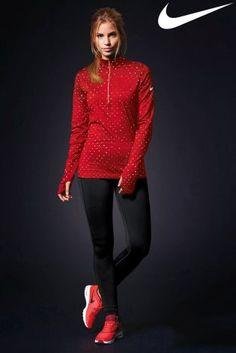 Nike Red Hyperwarm Polka Half Zip Top at Next