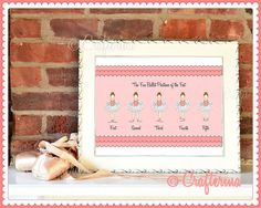 The Five Ballet Positions of the Feet Fine Art Print by Crafterina, $3.50  www.Crafterina.Etsy.com