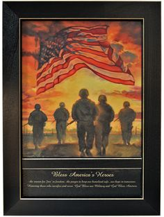 'Bless Americas' Heroes' By Bonnie Mohr, Printed Wall Art, Ready To Hang Framed Poster, Black Frame (Americana), Trendy Decor Wood Wall Art, Framed Wall Art, Painting Frames, Painting Prints, Framed Art Prints, Wall Art Prints, Black Framed Art, Texture Art, Graphic Art