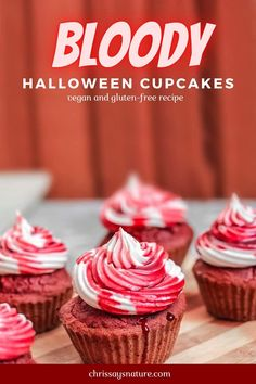 So I originally created dark red muffins that I topped with coconut frosting. These cupcakes are so beautiful on their own. So you can actually serve them like this, but if you want to serve it on Halloween, I suggest you top them with my secret fake blood sauce!