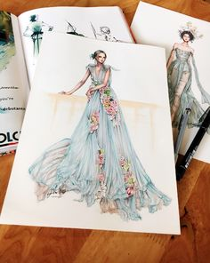 Sketch and scan version of blooming rainbow dress by Fashion Illustration Dresses, Dress Illustration, Fashion Illustrations, Arte Fashion, Fashion Moda, Couture Fashion, Womens Fashion, Fashion Design Drawings, Fashion Sketches