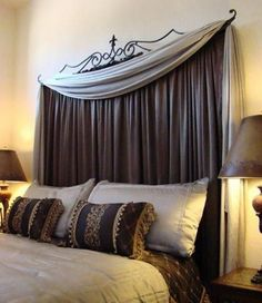 Curtain rod to create headboard. This would change the texture in my room -- a fabric headboard. Since my light oak headboard is not attached to my bed frame, I can easily slide it out and do something like this. Diy Fabric Headboard, Diy Curtains, Headboard Ideas, Curtain Headboards, Diy Headboards, Homemade Headboards, Bedroom Curtains, Headboard Cover, Curtains Behind Bed