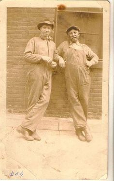 antique photograph two African American men in work overalls  Selling on ebay