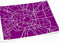 Milano città d'arte mappa stampa / Italia Poster Custom Wall Decor grafico illustrazione / 8x10 stampa digitale / Scegli il tuo colore - lots of colours