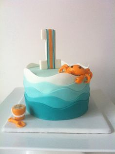 "Beach themed 6"" cake made for a little boy's smash cake photo session."