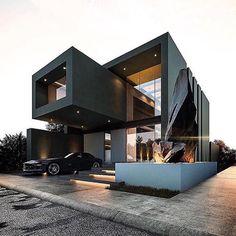 Pin de decor and architecture en exterior design en 2019 modern house desig Black House Exterior, Modern Exterior, House Exterior Design, House Exteriors, Casas Containers, Minimalist House Design, Minimalist Style, Design Lab, Design Ideas