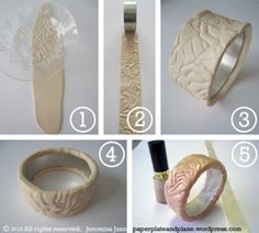 fimo textured bracelet tutorial (note - do NOT use nail polish on polymer clay! Polymer Clay Bracelet, Fimo Clay, Polymer Clay Projects, Polymer Clay Creations, Polymer Clay Crafts, Diy Bracelet, Bracelet Tutorial, Cuff Bracelets, Do It Yourself Inspiration