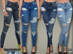 Lana CC Finds - Ripped Denim Jeans05 by Pinkzombiecupcakes