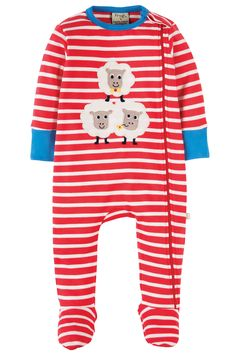This brand NEW Zipped Babygrow, in a fab breton stripe with a fun and colourful Frugi character applique on the front, is made from super soft and durable organic cotton interlock with a hint of elastane in the binding and cuffs for extra longevity and comfort! With hidden poppers to the side of the neck, this babygrow has clever integrated scratch mitts (only up to size 6-12 months), cosy feet, a comfy organic cotton single jersey lining on the inside front and a zip and zip guard that runs…