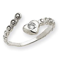 14k White Gold CZ Heart Toe Ring  $89.95 $$Coupons Available$$  #Summer #ToeRing #Jewelry #ToeJewelry #14K #14KWhiteGold  #Gold #WhiteGold  #GoldToeRing #Heart #HeartToeRing