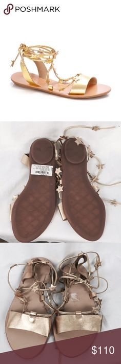 Nwt Loeffler & Randall Gold Star Gladiators shoes This is a gorgeous pair of new Loeffler & Randall gladiators. They are size 7 and are true to size. Gold lame leather.  Stars accent the slim lace-up ties on these luxe metallic leather Loeffler Randall sandals. Rubber sole.  Leather: Cowhide. Imported, Brazil. Loeffler Randall Shoes Sandals