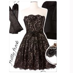 """NWT size 8 lace dress in black by Neiman Marcus Neiman Marcus for Target in size 8 black lace dress.  Approx measurements are about 28"""" waist 32"""" bust.  Entire length is 29"""" and length from waist down is 20"""".    Beautiful black ribbon waist belt.  Back zipper.  Built in bra with two back hooks.  Black lace over a nude color fabric. fully lined with 4 layers and built in tull skirt.  See pic for fabric content. Neiman Marcus Dresses Prom"""
